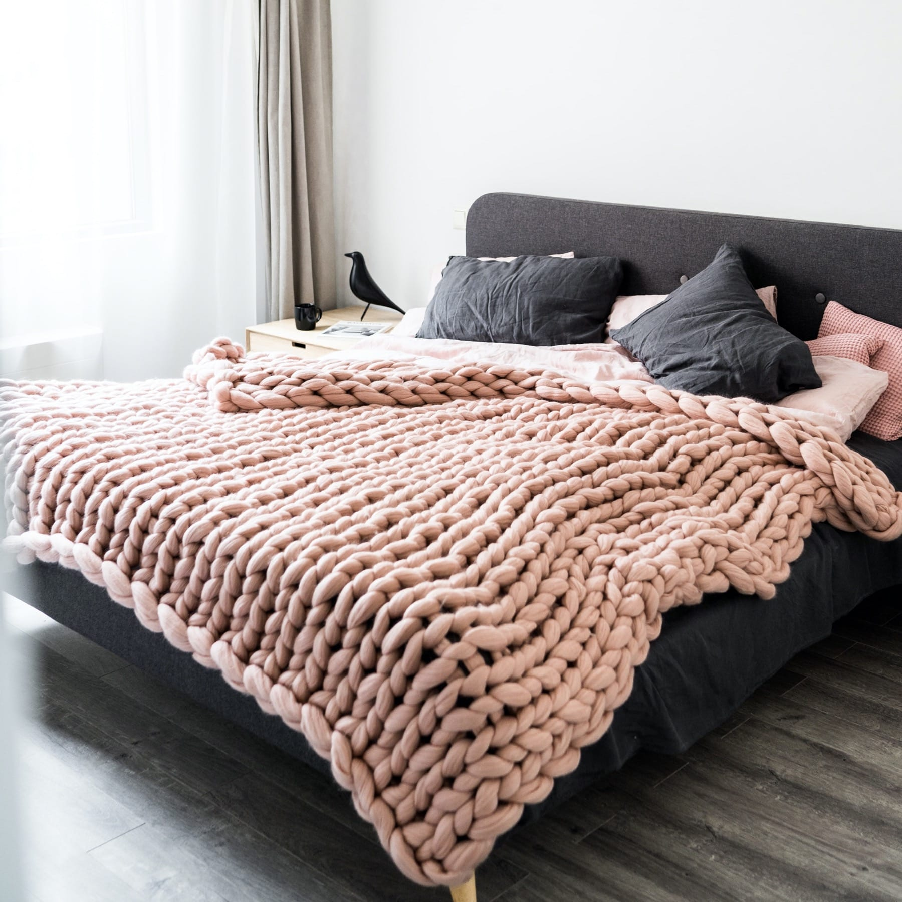 chunky knit blanket queen blush pink dusty pink