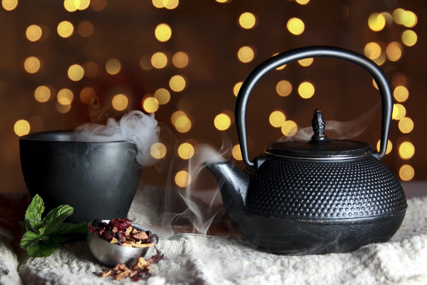 winter tea in pot