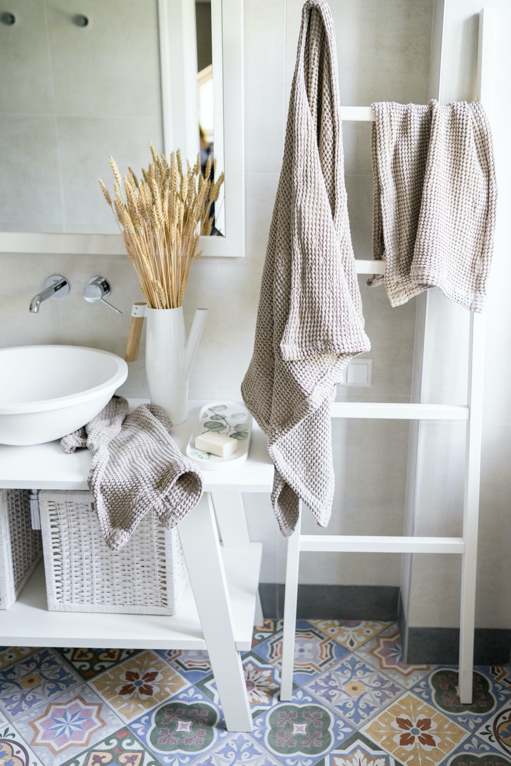 Linen waffle towels for eco-friendly home