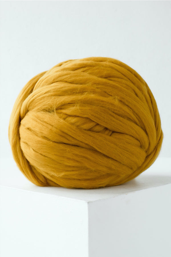 Chunky Knit Wool Thick Yarn Organic Wool Chunky Knit Wool Giant Yarn Wool Yarn Mustard Yellow 396 Vertical