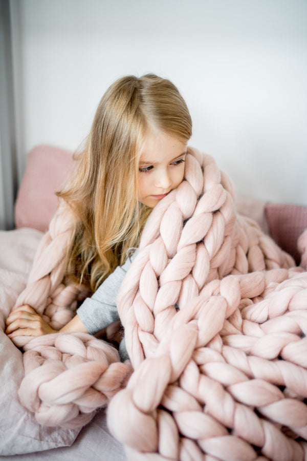 Kids Chunky Wool Blanket Kids Blanket Dusty Pink 75x115