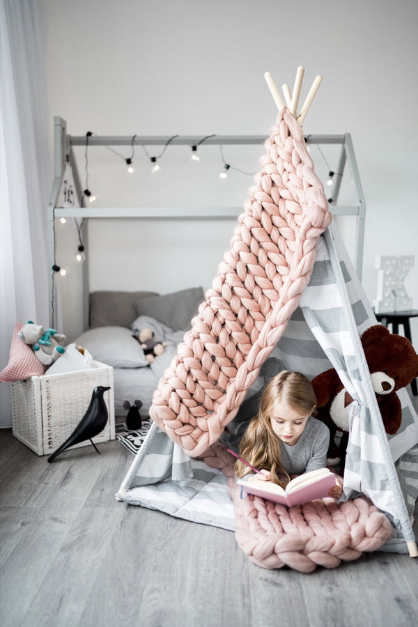 Kids Merino Wool Blanket Kids Blanket Dusty Pink 90x130 40x120