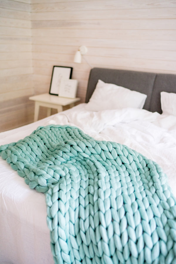 Merino Blanket Chunky Knit Throw Giant Blanket Mint