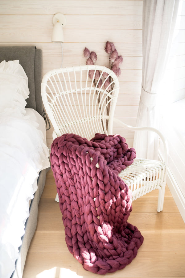 Merino Blanket Wool Throw Blanket Chair Throws Wine Red 90x130