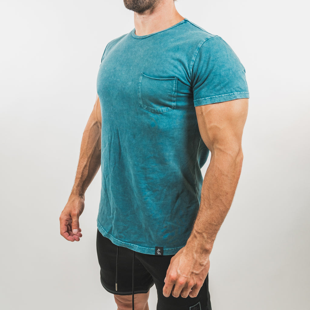 Mineral Wash Pocket Tee // Blue