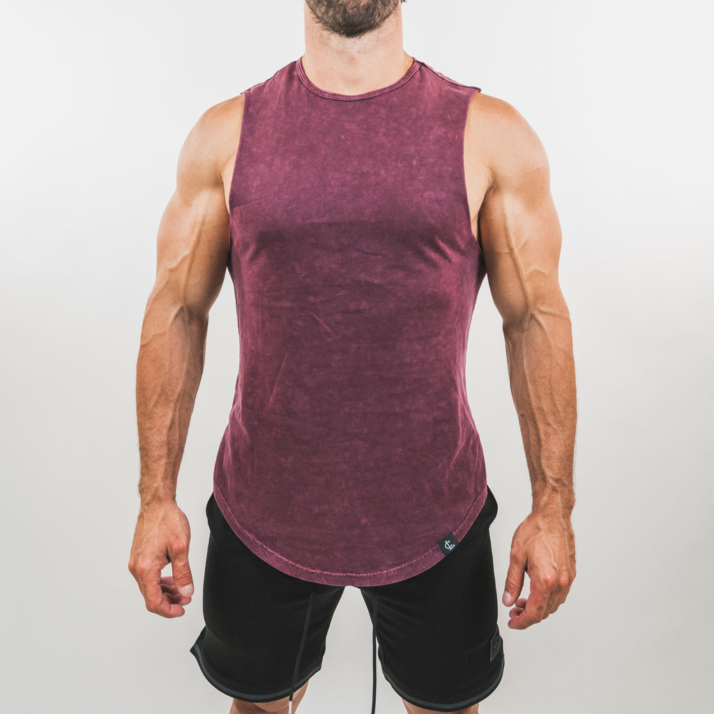 Mineral Wash Muscle Tank // Burgundy