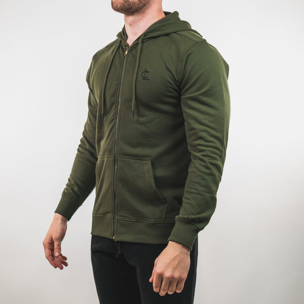 Lightweight Zip Up Hoodie // Olive