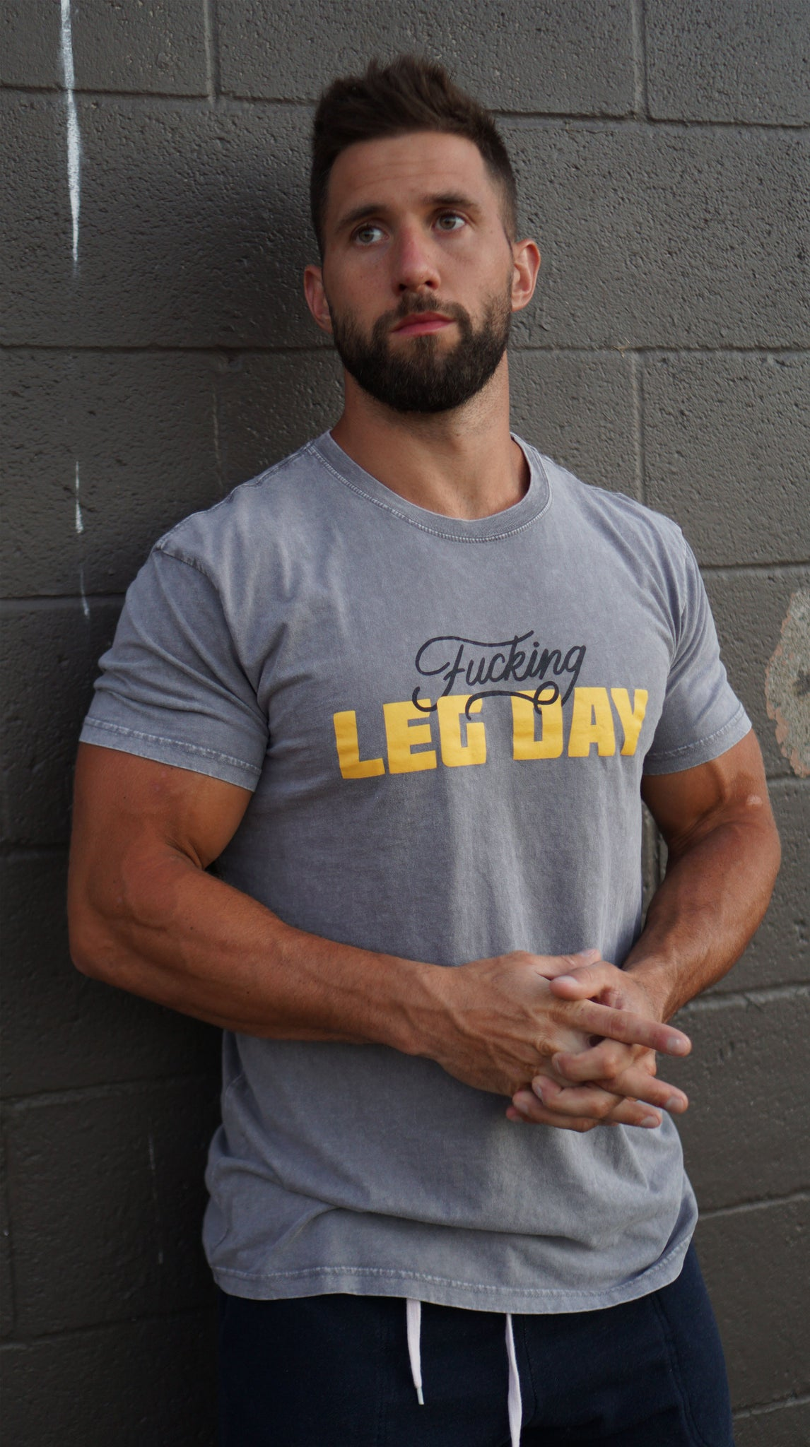 Fucking Leg Day Staple Tee - Ash stone