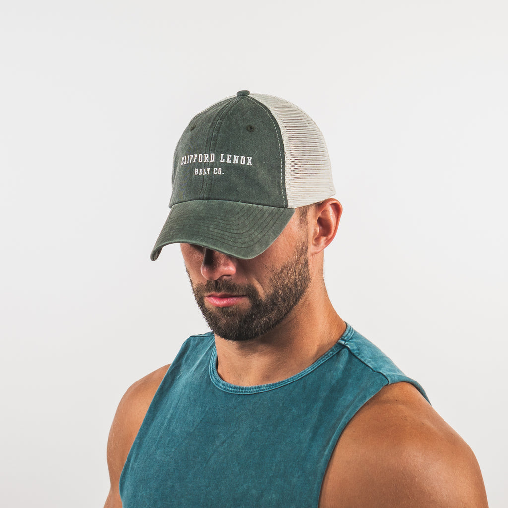Clifford Lenox Belt Co. Vintage Mesh Hat // Washed Forest Green