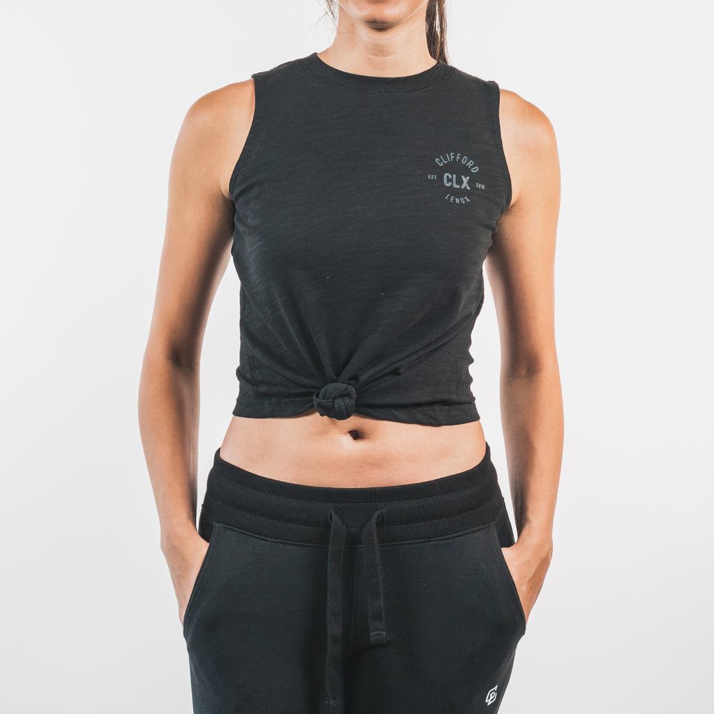 Essential Front-Tie Tank // Black
