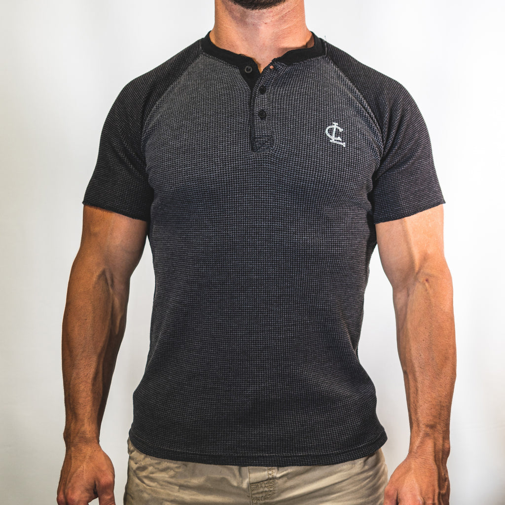 Thermal Henley Short Sleeve Tee // Charcoal/Sage
