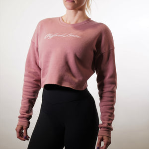 Womens Relaxed Fit Cropped Fleece - Mauve