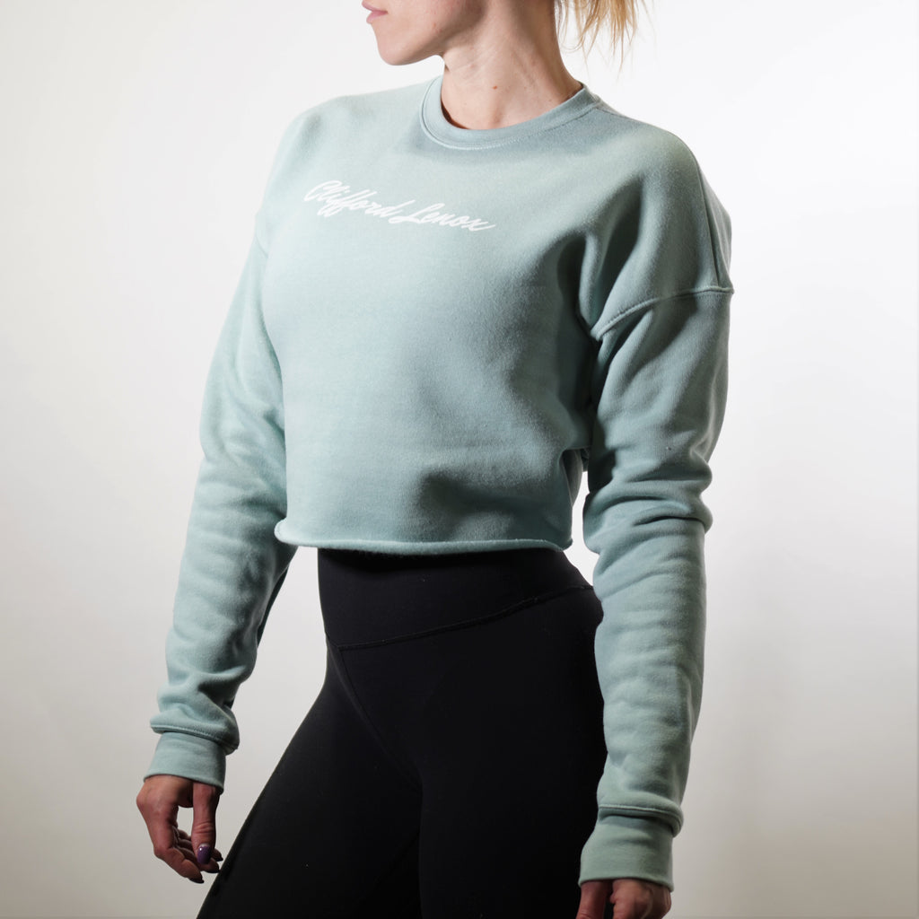 Womens Relaxed Fit Cropped Fleece - Caribbean Blue