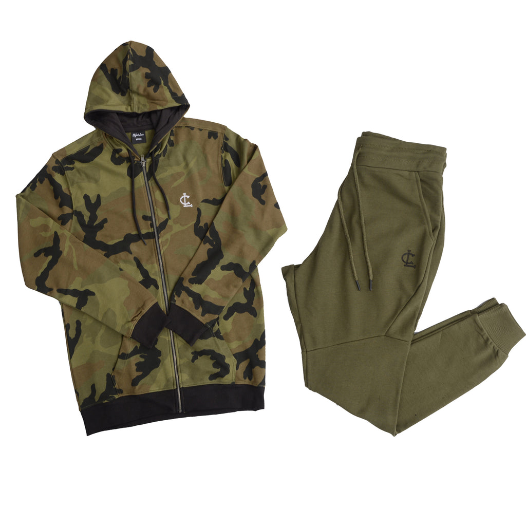 Clifford Lenox 2-Piece Outfit// Camo Green Hoodie and Olive Joggers