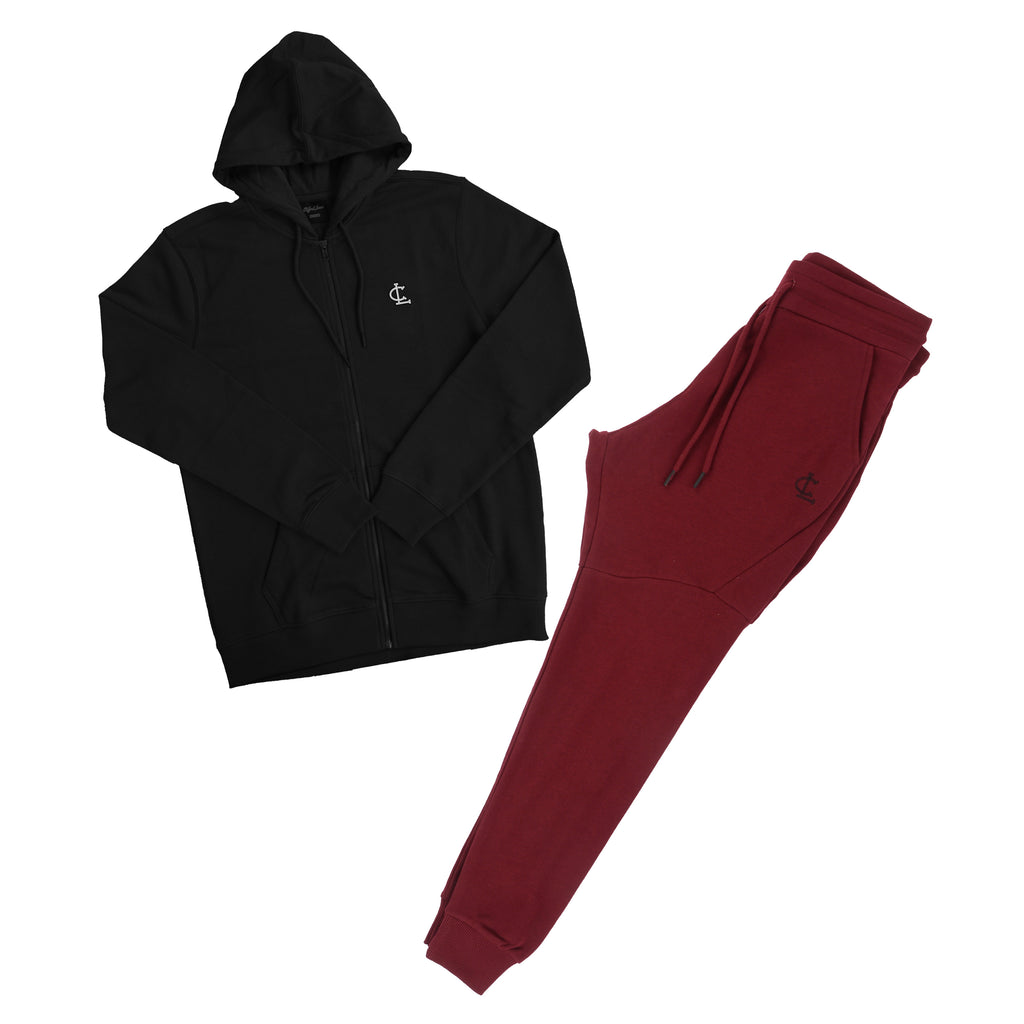 Clifford Lenox 2-Piece Outfit// Black Zip up Hoodie and Burgundy Joggers