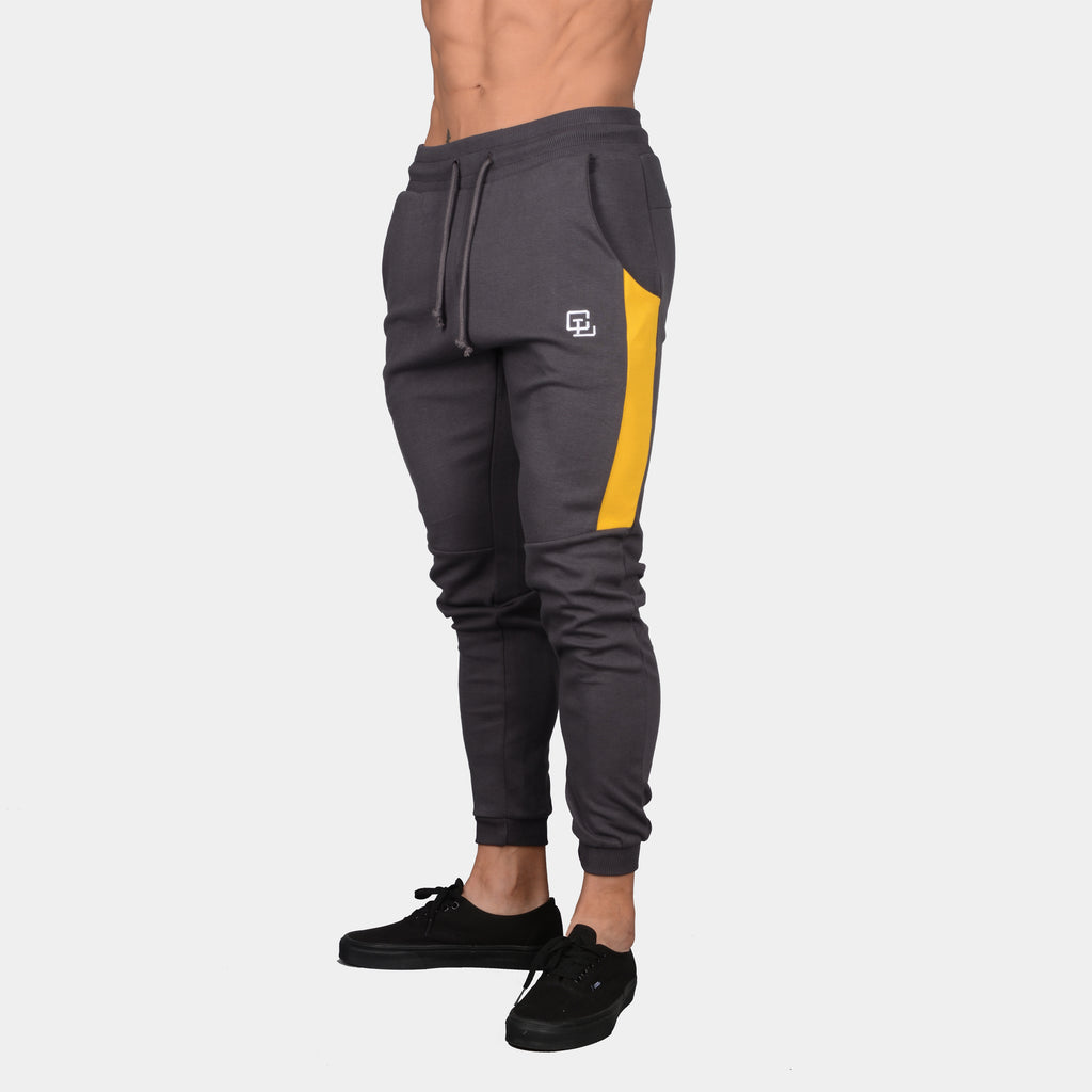 Interlock Tech Joggers // Charcoal/Mustard
