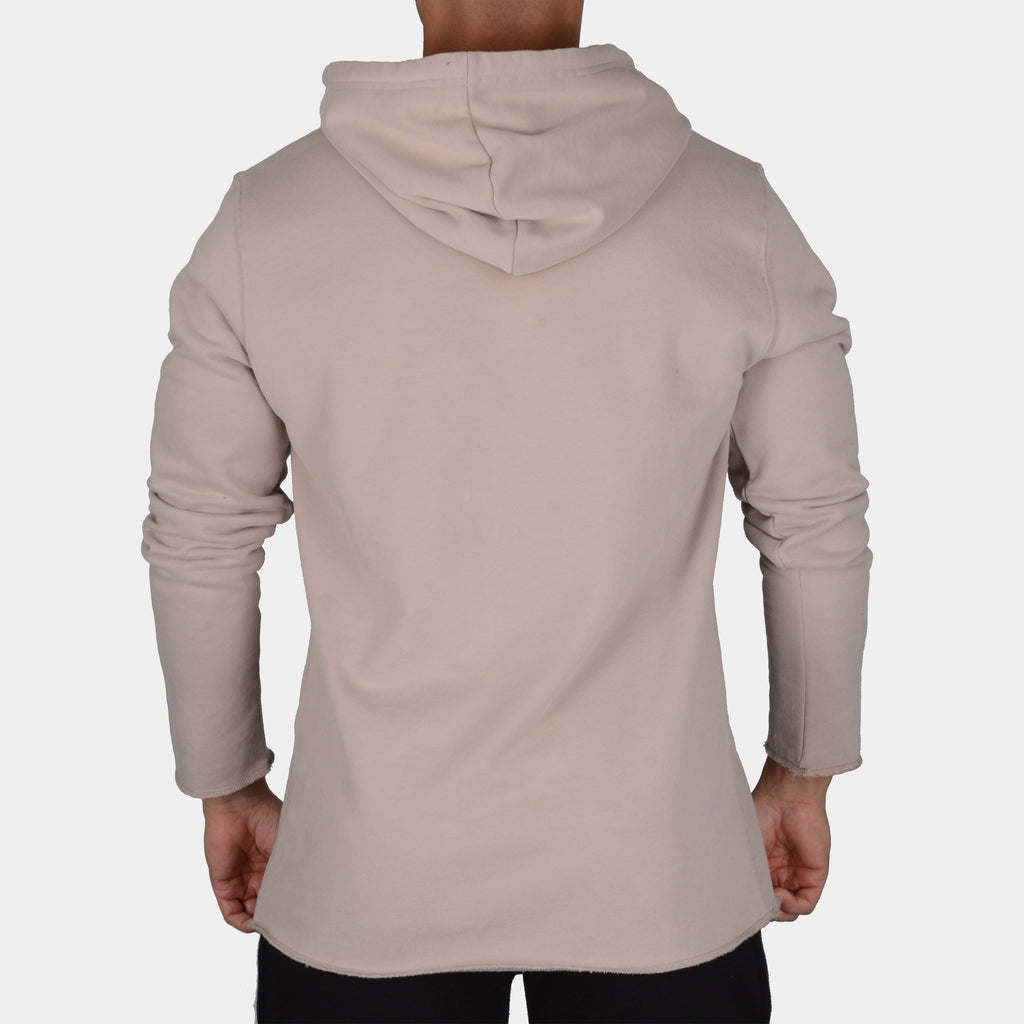 Raw Long Sleeve Patch Hoodie // Tan