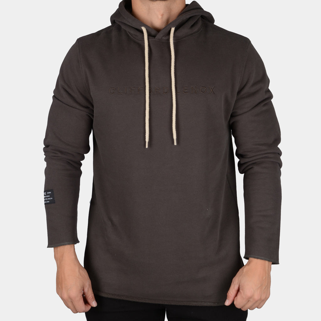 Raw Long Sleeve Patch Hoodie // Charcoal