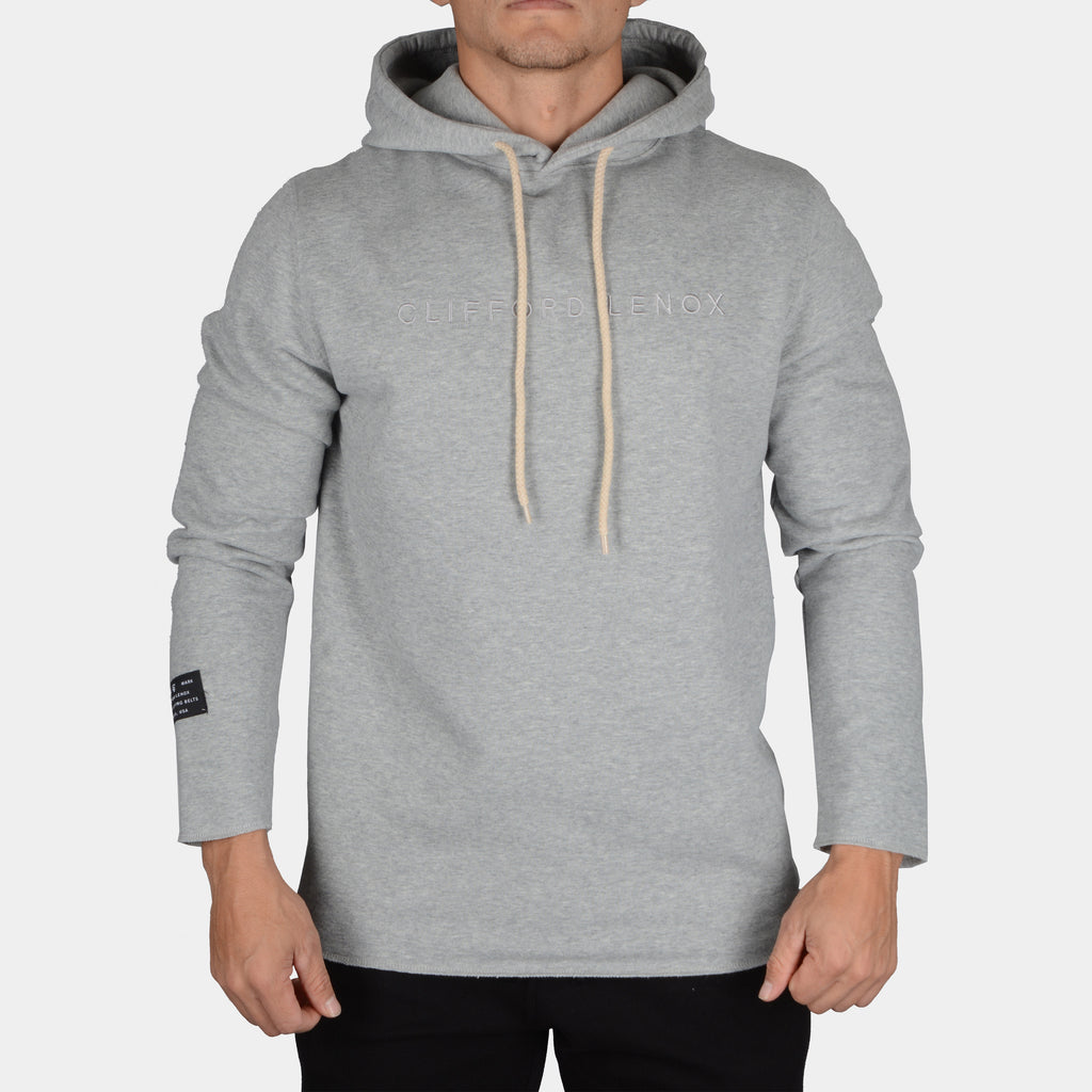 Raw Long Sleeve Patch Hoodie // Heather Grey
