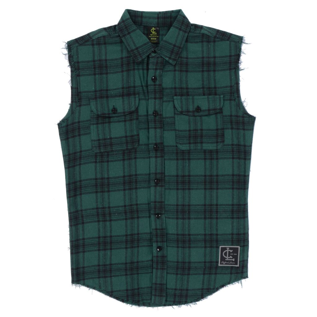 Flannel Cut-Off Shirt // Green/Black