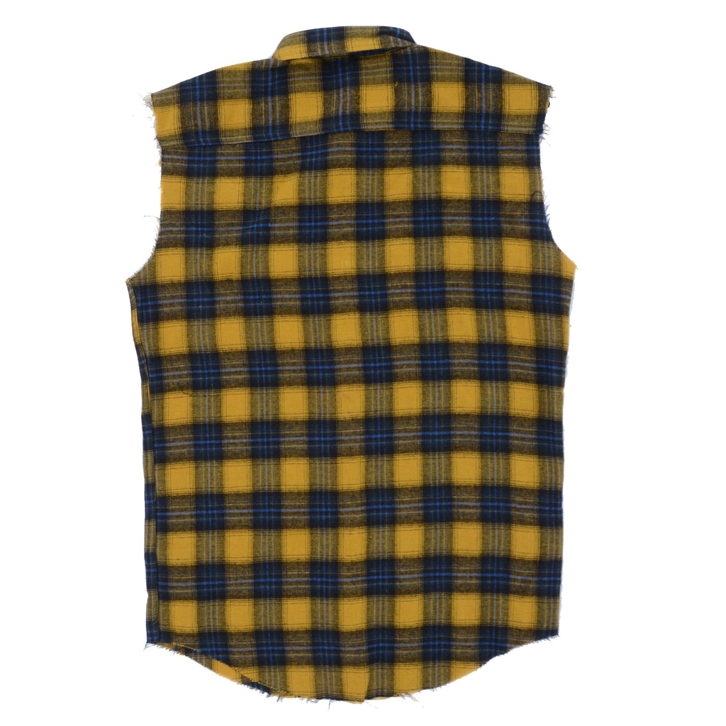 Flannel Cut-Off Shirt // Yellow/Navy