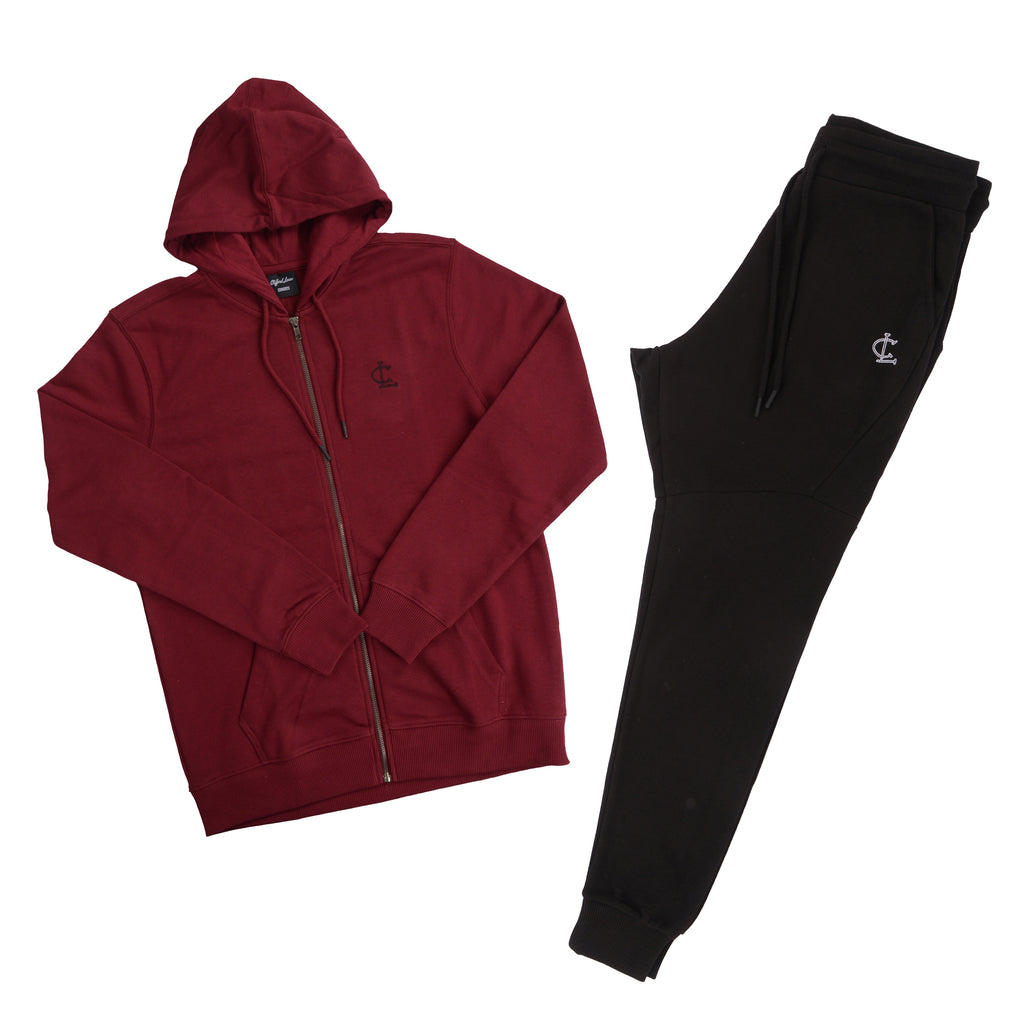 Clifford Lenox 2-Piece Outfit// Burgundy Zip Up and Black Joggers