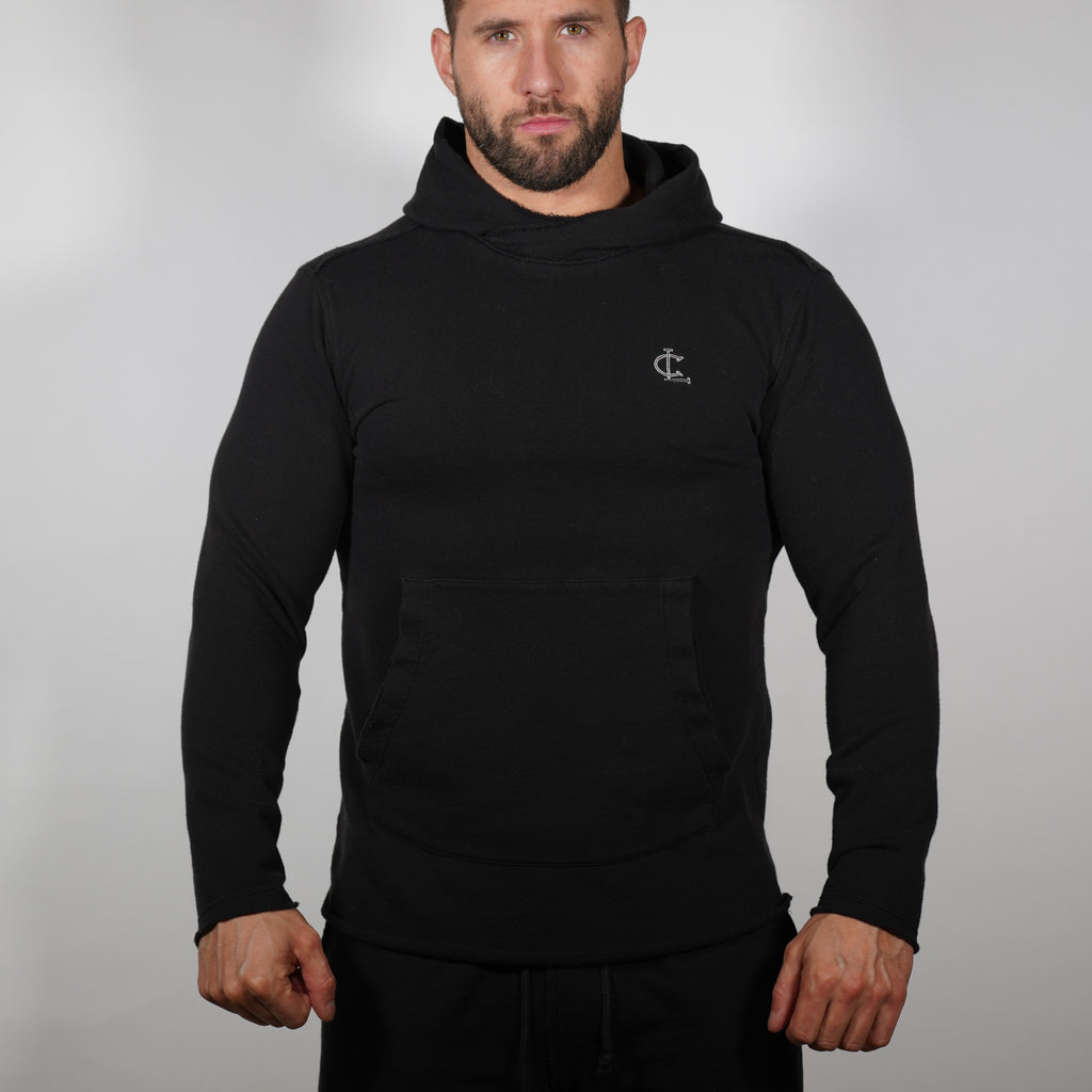 Raw Edge Training Hoodie - Black