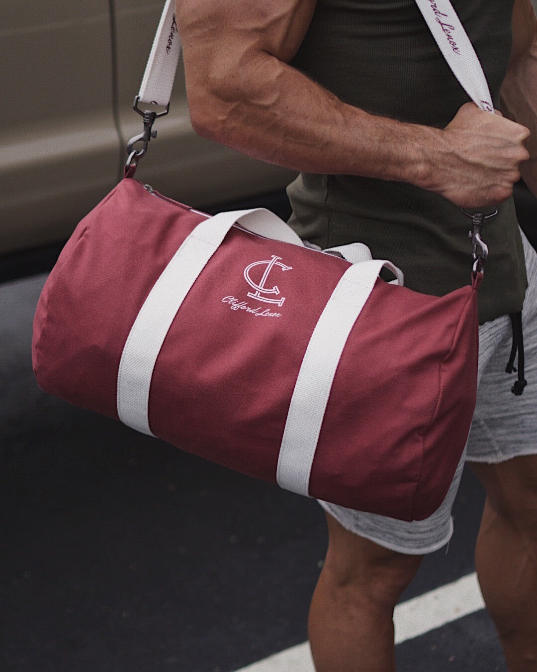 Duffel Bag - Mauve/White