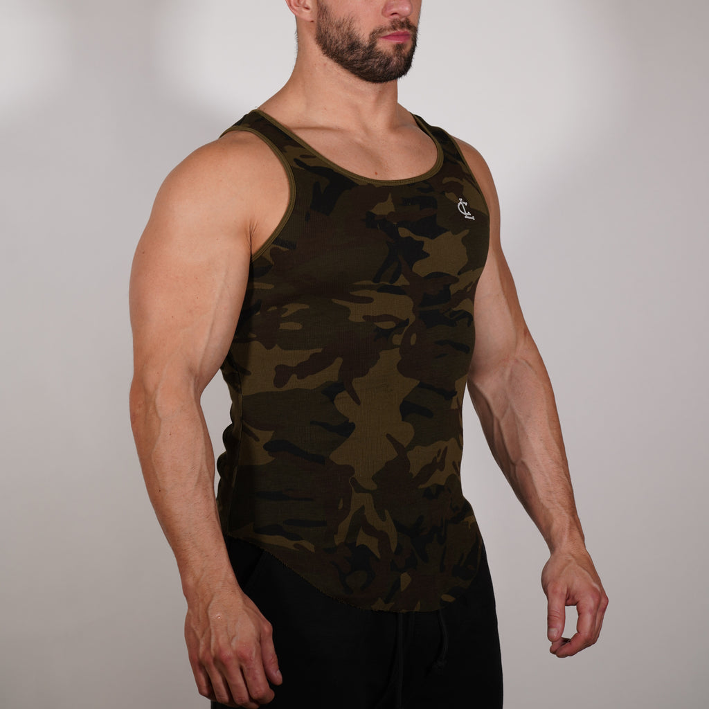 Ribbed Tank Top // Camo Green