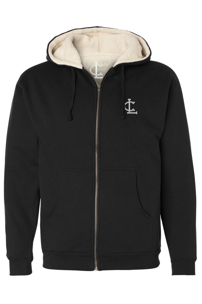 Sherpa Zip-Up Hoodie - Black