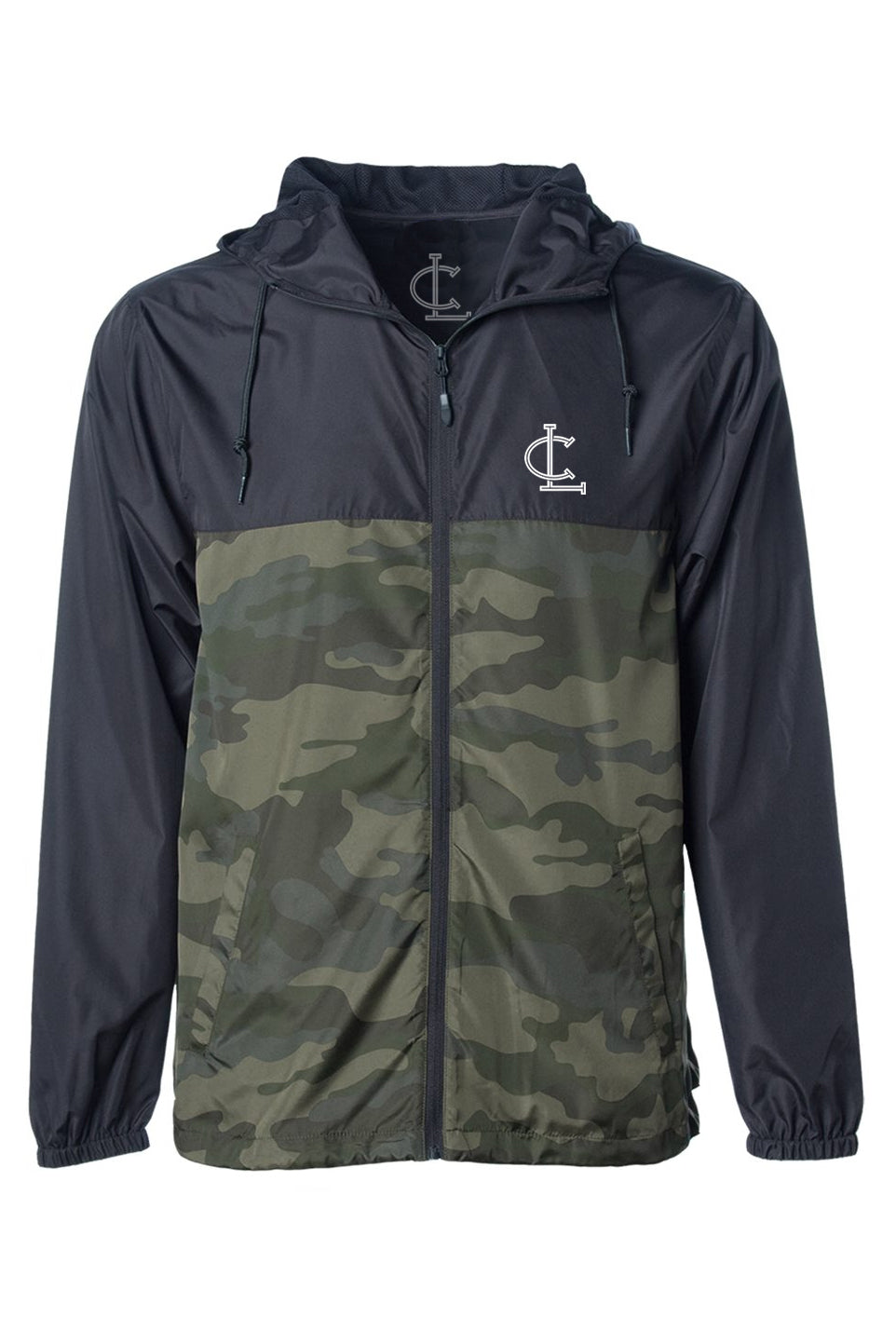 Full Zip Windbreaker Jacket - Black/Camo