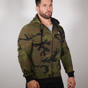 Lightweight Zip up Hoodie - Camo Green