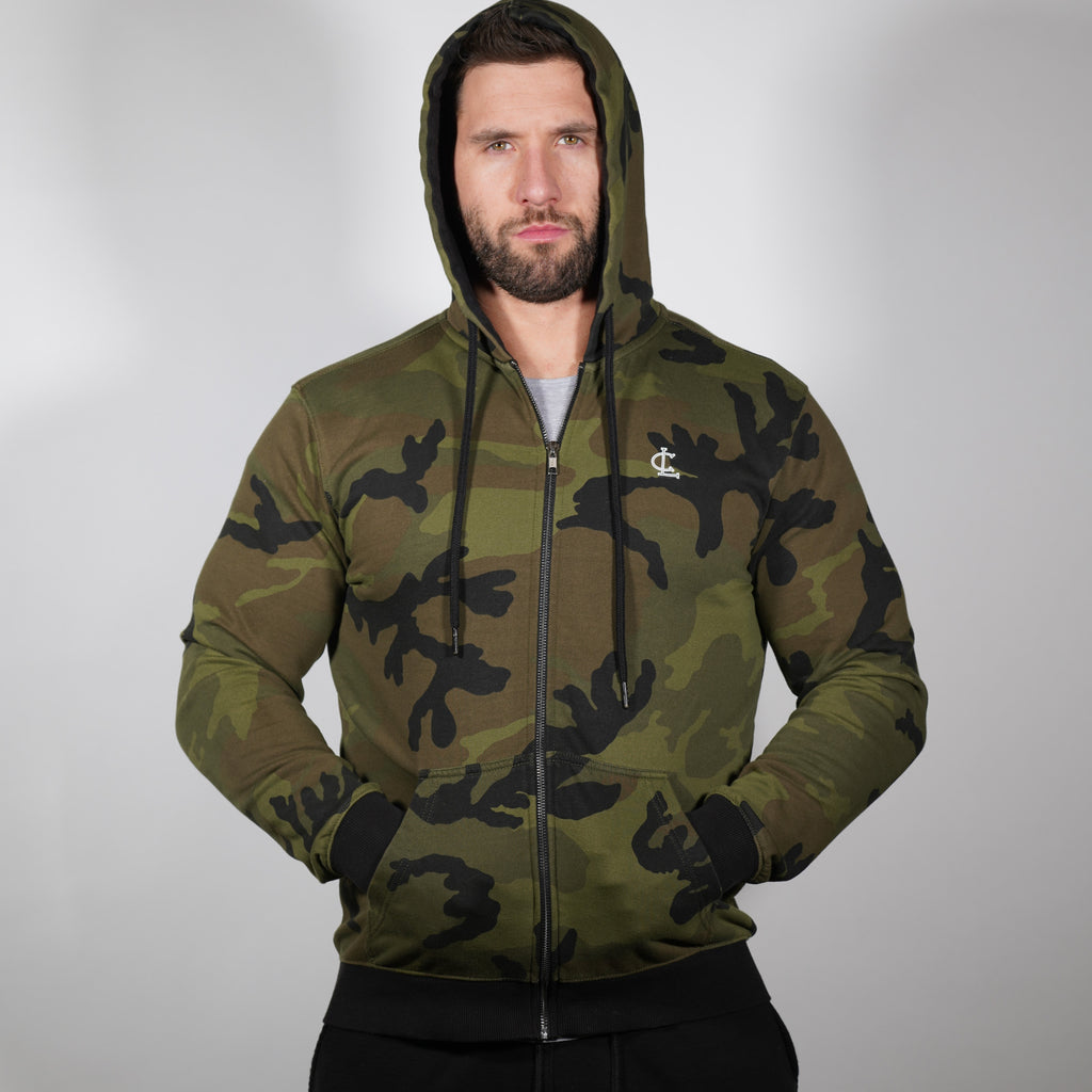 Lightweight Zip Up Hoodie // Camo Green