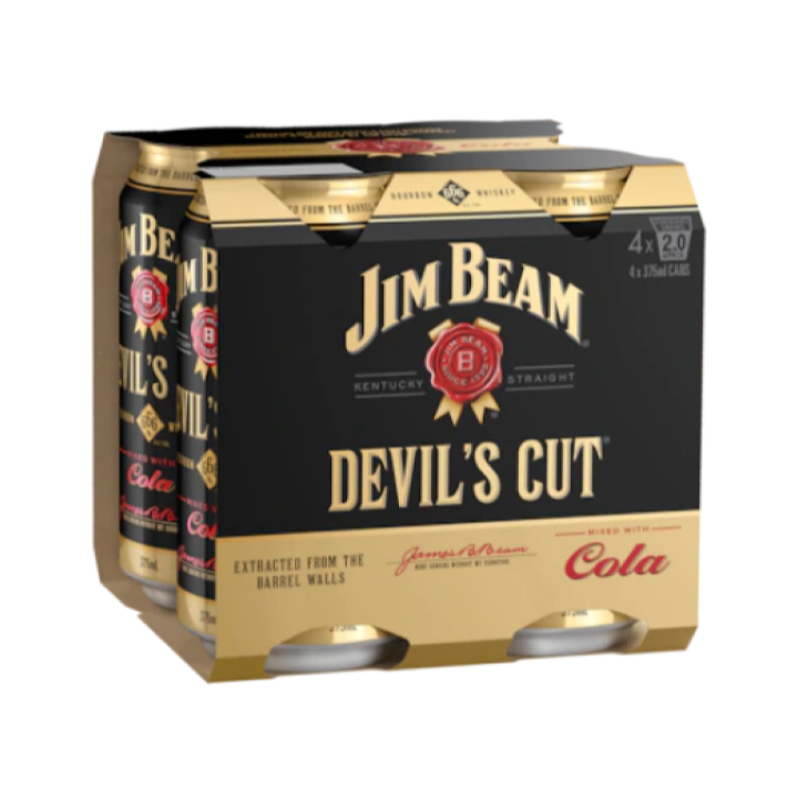 Jim Beam Cola Devils Cut 375ml 4pack