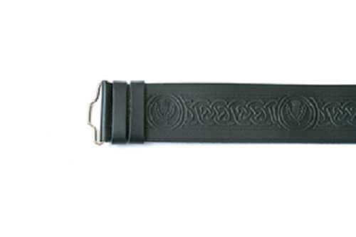Celtic Thistle Hide Embossed Velcro Kilt Belt
