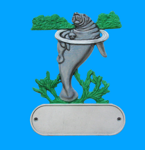Cast Aluminum Manatee Decorative Address Plaque