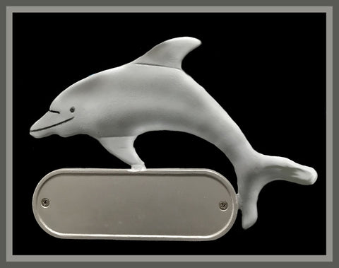 Cast Aluminum Porpoise Dolphin Decorative Address Plaque