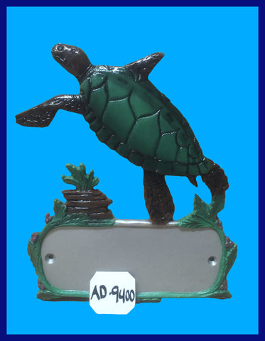 Aluminum Sea Turtle Decorative Address Plaque - Broward Casting