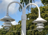 7',8' or 9' ALUMINUM ROUND POST WITH DOUBLE PAGODA DOCK LIGHT - Broward Casting