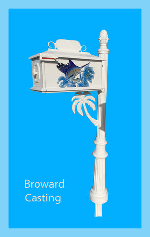 CUSTOM ORDERED/PAINTED PALM TREE w/Sailfish inserts HIGH QUALITY CAST ALUMINUM MAILBOX