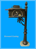 PALM TREE w/Pelican inserts HIGH QUALITY CAST ALUMINUM MAILBOX - Broward Casting