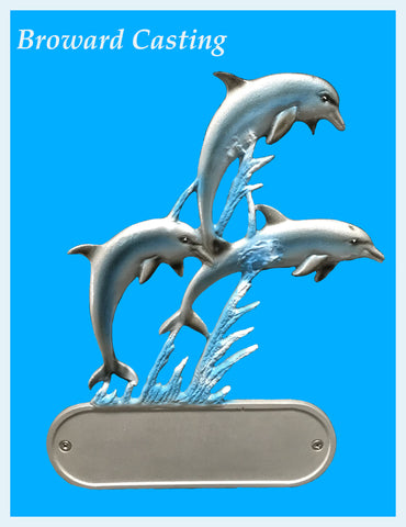 Triple Porpoise Address Plaque in Full Color