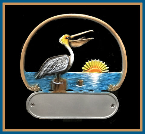 Aluminum Pelican Scene Decorative Address Plaque - Broward Casting
