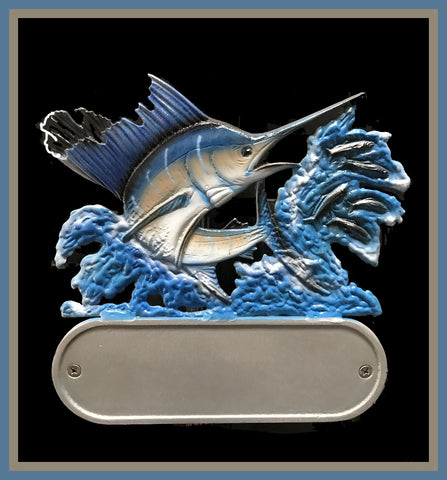 Aluminum Sailfish Decorative Address Plaque - Broward Casting