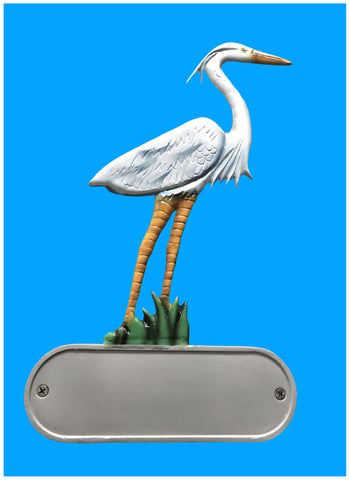 Aluminum Heron Decorative Address Plaque - Broward Casting