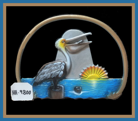 Aluminum Pelican Scene Decorative Hose Holder - Broward Casting