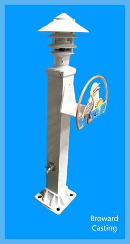 DECORATIVE ALUMINUM HOSE STATION w/ Pagoda DOCK Light - Broward Casting