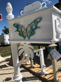 PALM TREE w/Butterfly Inserts HIGH QUALITY CAST ALUMINUM MAILBOX