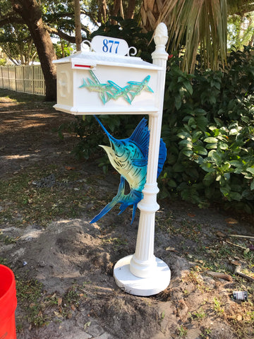 CUSTOM PAINTED PLASMA SAILFISH w/Flying fish inserts HIGH QUALITY CAST ALUMINUM MAILBOX