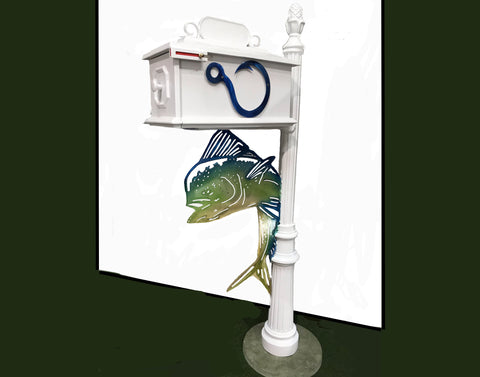 CUSTOM ORDERED/PAINTED MAHI DOLPHIN w/Blue Hook Inserts HIGH QUALITY CAST ALUMINUM MAILBOX